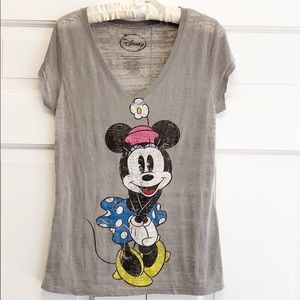 Disney Minnie Mouse Iconic V-Neck Graphic Tee Sz L